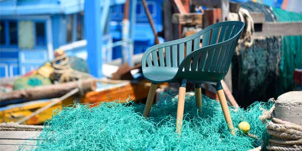The DuraOcean chair on top of some fishing nets