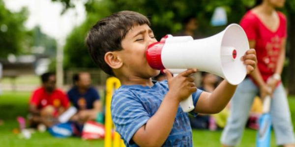 Boy with a megaphone
