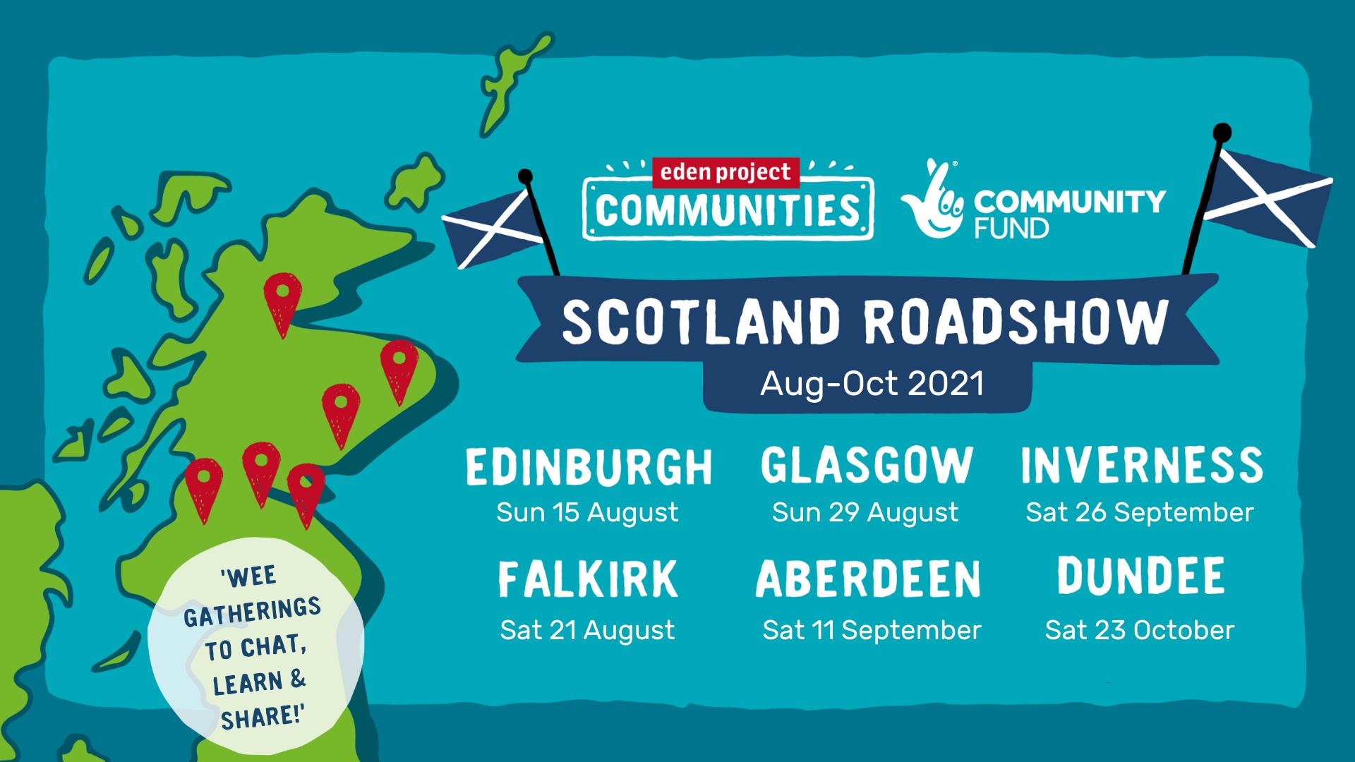 Graphic showing Scotland Roadshow dates